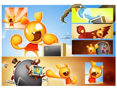 Pixelton 8bit hero Kirby Inked comic color version