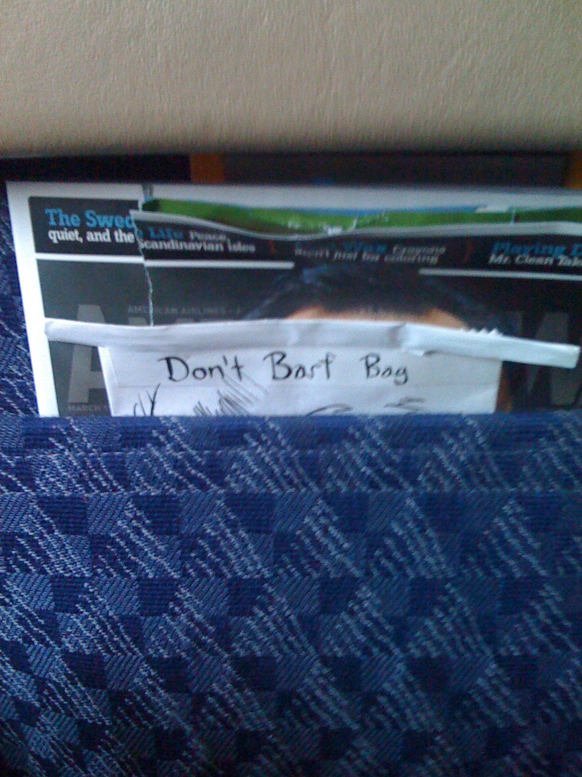 Don\'t Barf Bag bored on flight